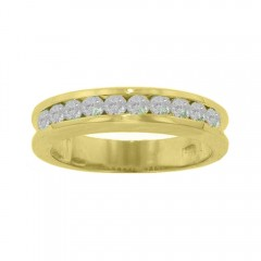 New 1.00CT Men's Round Cut Diamond Ring Wedding Band G/SI1 14KT Yellow Gold Cert