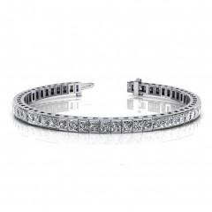 5.15 ct Ladies Princess Cut Diamond Tennis Bracelet ( Color G Clarity SI-1) in 14 kt White Gold