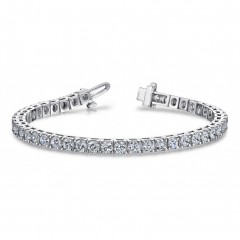 4.17 ct Ladies Princess Cut Diamond Tennis Bracelet ( Color G Clarity SI-1) in 14 kt White Gold