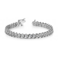 3.00 ct S-Type Round Cut Diamond Tennis Bracelet ( Color G Clarity SI-1) in 14 kt White Gold
