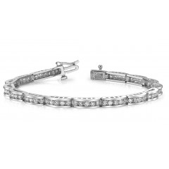 5.04 ct Ladies Round Cut Diamond Tennis Bracelet ( Color G Clarity SI-1) in 14 kt White Gold