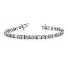 5.05 ct Ladies Round and Baguette Cut Diamond Tennis Bracelet  ( Color G Clarity SI-1) in 14 kt White Gold