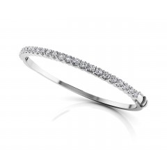 3.00 ct All Around Diamond Top Bangle Bracelet (Color G Clarity SI-1) in 14 kt White Gold