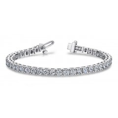 3.10 ct Ladies Round Cut Diamond Tennis Bracelet ( Color G Clarity SI-1) in 14 kt White Gold