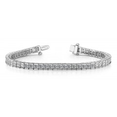3.10 ct Ladies Princess Cut Diamond Tennis Bracelet ( Color G Clarity SI-1) in 14 kt White Gold