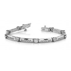 4.31 ct Ladies Round Cut Diamond Tennis Bracelet ( Color G Clarity SI-1) in 14 kt White Gold