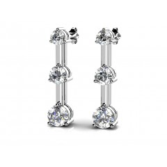 1.00 ct Ladies Round Cut Diamond Drop Earrings (Color G Clarity SI-1) in 14 Karat White Gold