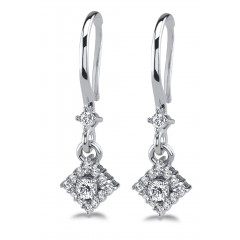 1.65 ct Ladies Round Cut Drop Diamond Earrings (Color G Clarity SI-1) in 14 kt White Gold