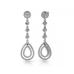 6.15 ct Ladies Round Cut Double Drop Diamond Earrings (Color G Clarity SI-1) in 14 karat White Gold
