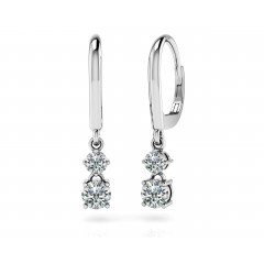 4.00 ct Ladies Round Cut Double Drop Diamond Earrings (Color G Clarity SI-1) in 14 karat White Gold