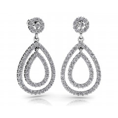 1.27 ct Ladies Round Cut Drop Diamond Earrings (Color G Clarity SI-1) in 14 kt White Gold