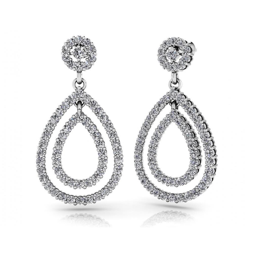1ca65ffe2 5 16 Ct Las Round Cut Double Teardrop Diamond Earrings Color G