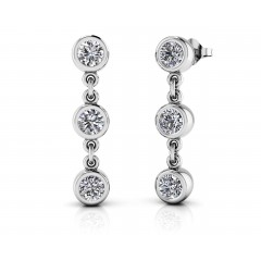 1.20 ct Ladies Round Cut Drop Earrings  (Color G Clarity SI-1) in 14 karat White Gold