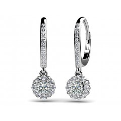 1.75 ct Ladies Round Cut Diamond Drop Earrings (Color G Clarity SI-1) in 14 karat White Gold