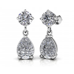 2.00 ct Ladies Round and Pear Shaped Drop Earrings  (Color G Clarity SI-1) in 14 karat White Gold