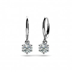 0.60ct Ladies Round Cut Diamond Drop Dangle Earrings (Color G Clarity SI-1) 14kt White Yellow Gold