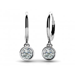 0.80 ct Ladies Round Cut Diamond Drop Earrings  (Color G Clarity SI-1) in 14 karat White Gold
