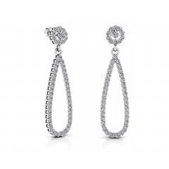 4.10 ct Ladies Round Cut  Teardrop Diamond Earrings (Color G Clarity SI-1) in 14 karat White Gold