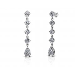 2.49 ct Ladies Round and Pear Shaped Drop Earrings  (Color G Clarity SI-1) in 14 karat White Gold
