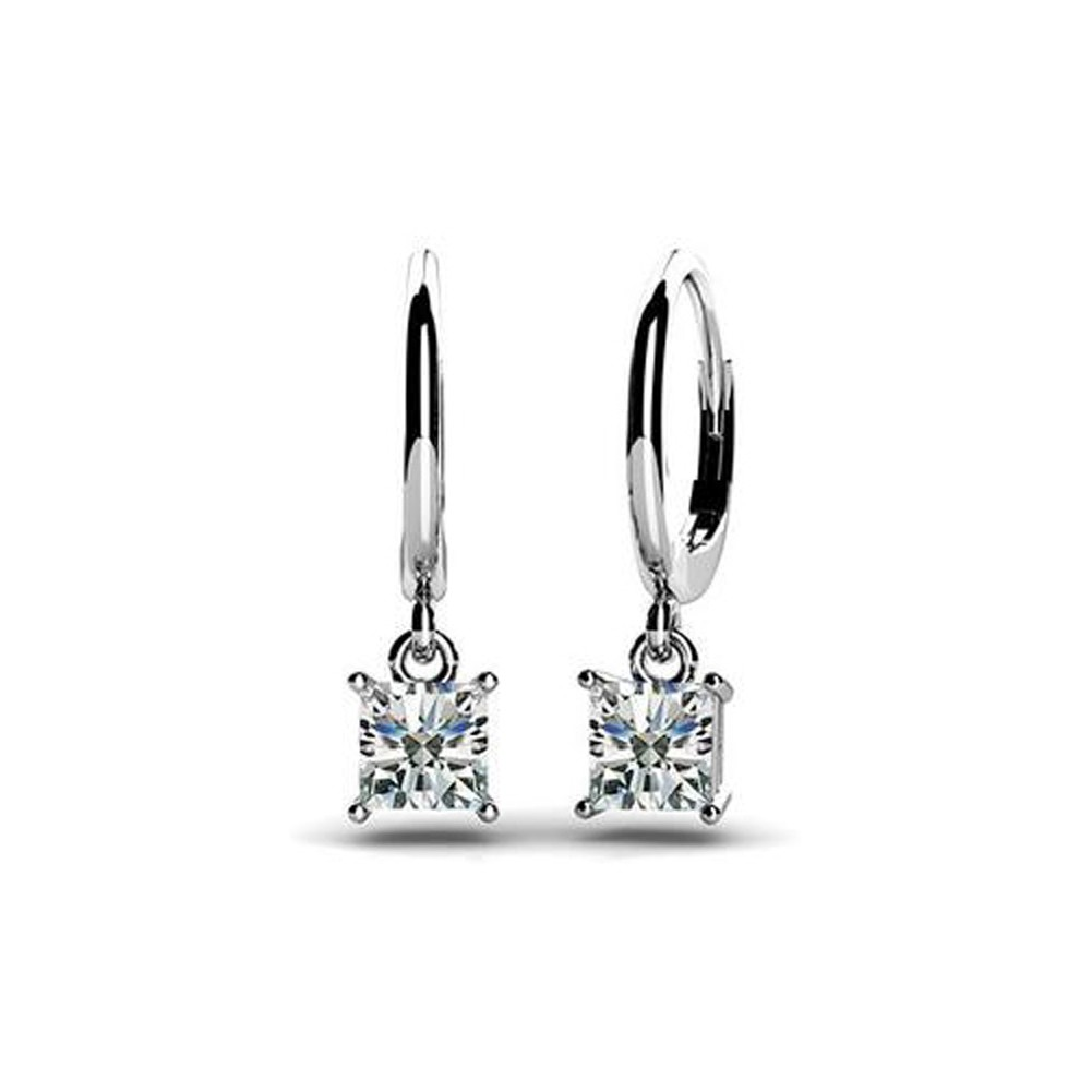 Well-known 0.60ct Lady's Princess Cut Diamond Drop Dangle Earrings 14kt White  AH75