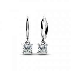 0.60ct Lady's Princess Cut Diamond Drop Dangle Earrings 14kt White Yellow Gold