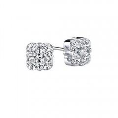 1.00 CT Lady's Round Cut Diamond Stone Stud Earrings White Yellow GOLD G/SI1