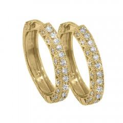 1.00ct Round Cut Diamonds Hoops Huggies Earrings G/Si1