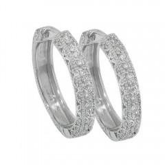 1.25ct Round Cut Diamonds Hoops Huggies Earrings G/Si1