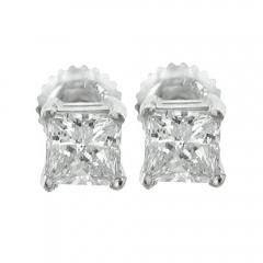 1.03ct Princess Diamonds Studs Earrings Platinum F/VS2