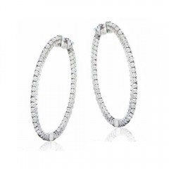 1.40 CT Round Cut Diamonds Hoops Huggies Earrings G/SI1