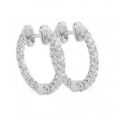1.50ct Round Cut Eternity Diamond Hoops Huggie Earrings