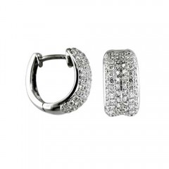 1.50ct Round Cut Pave Diamonds Hoops Huggies Earrings