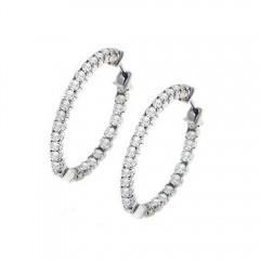 1.70 ct. Round Cut Diamonds Hoops Huggies Earrings F/VS2