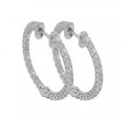 1.75CT Round Cut Eternity Diamond Hoops Huggie Earrings