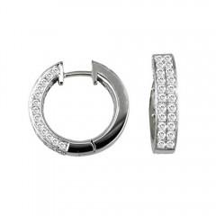 1.75ct Round Cut Pave Diamonds Hoops Huggies Earrings