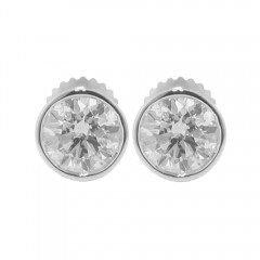 1.92 CT Round Cut Diamond Stud Earrings Bezel Set White Yellow Gold F/VS2 Cert