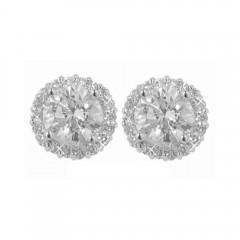 2.18ct Round Cut Diamonds Studs Earrings Gal Certified