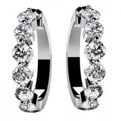 1.50 ct Ladies Round Cut Diamonds Hoops Earrings in 14 karat White Gold