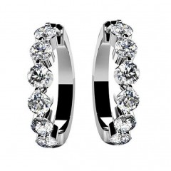 1.50 ct Ladies Round Cut Diamond Hoops Earrings (Color G Clarity SI-1) in 18 karat White Gold
