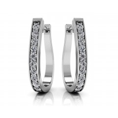 0.70 ct Ladies Round Cut Diamonds Hoops Huggies Earrings (Color G Clarity SI-1) in 14 karat White Gold