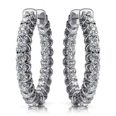 1.90 ct Ladies Round Cut Diamonds Hoops Earrings (Color G Clarity SI-1) in 14 karat White Gold