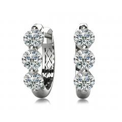 1.50 ct Ladies Round Cut Diamond Hoop Earrings (Color G Clarity SI-1) in 14 karat White Gold