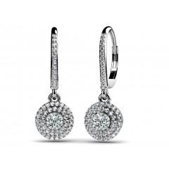 2.25 ct Ladies Round Cut Diamond Hoop Earrings  (Color G Clarity SI-1) in 14 karat White Gold