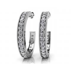 1.80 ct Ladies Round Cut Diamond Hoop Earrings (Color G Clarity SI-1) in 14 karat White Gold