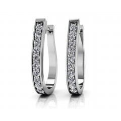 0.75 ct Ladies Round Cut Diamond Hoop Earrings (Color G Clarity SI-1) in 14 karat White Gold
