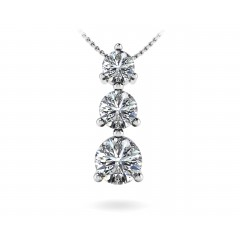 0.50 Ct Round Cut Diamond Three Stone Pendant ( Color G Clarity SI-1) in 14 Kt White Gold
