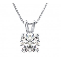 0.26 Ct Round Cut Diamond Solitaire Pendant ( Color G Clarity SI-1) in 14 Kt White Gold