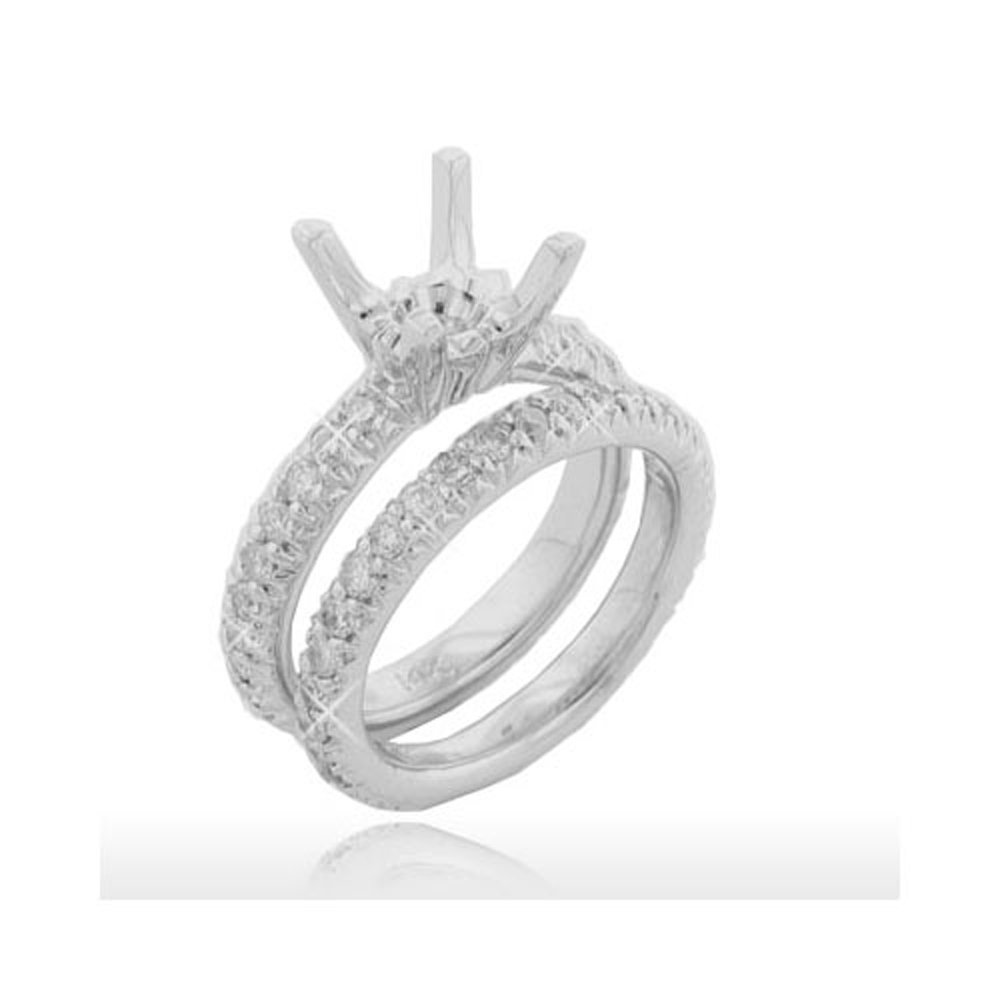 1.70ct Round Cut Diamonds Engagement Rings Bands Sets