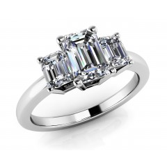 1.20  ct Ladies Emerald Cut 3 Stone Engagement Diamond Ring (Color G Clarity SI-1) in 14 kt White Gold