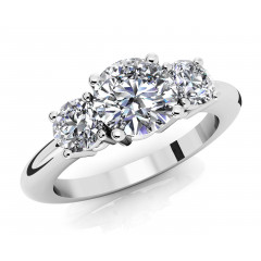1.75  ct Ladies Round Cut 3 Stone Diamond Ring (Color G Clarity SI-1) in 14 kt White Gold